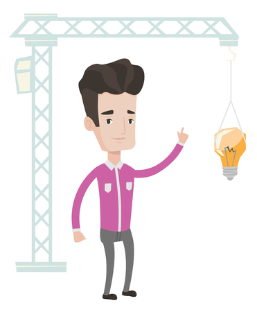 town planning: Young caucasian man pointing at light bulb hanging on crane. Architect having idea in town planning. Concept of new ideas in architecture. Vector flat design illustration isolated on white background.