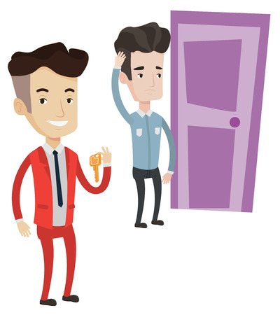 Happy caucasian businessman showing key on the background of young man looking at door. Concept of making the right decision in business. Vector flat design illustration isolated on white background. Illustration
