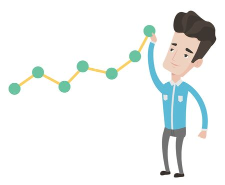 lift up: Young businessman looking at chart going up. Businessman lifting a business chart. Caucasian businessman pulling up a business chart. Vector flat design illustration isolated on white background. Illustration