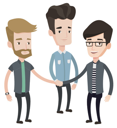 Group of businessmen joining hands. Business people putting their hands together. Businessmen stacking their hands. Partnership concept. Vector flat design illustration isolated on white background.
