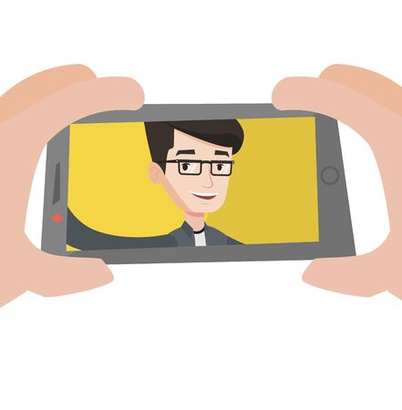 using smartphone: Young caucasian man making selfie. Man taking photo with cellphone. Young guy taking selfie. Man taking selfie using his smartphone. Vector flat design illustration isolated on white background. Illustration