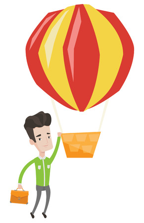 happy employee: Young smiling caucasian employee flying away in a balloon. Hardworking employee hanging on a hot air balloon. Happy employee got promoted. Vector flat design illustration isolated on white background.
