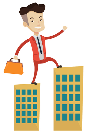businessman walking: Caucasian businessman walking on the roofs of city buildings. Man walking on the roofs of skyscrapers. Businessman walking to the success. Vector flat design illustration isolated on white background.