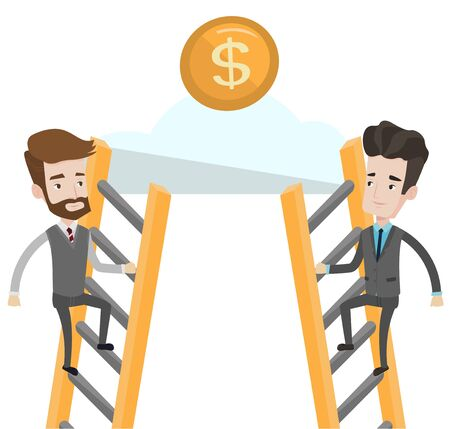 Two businessman competing for the money. Two competitive businessmen climbing the ladder on a cloud. Concept of competition in business. Vector flat design illustration isolated on white background.