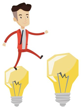 hopping: Smiling businessman in a suit hopping onto light bulbs. Caucasian cheerful businessman jumping on light bulbs. Concept of business idea. Vector flat design illustration isolated on white background.