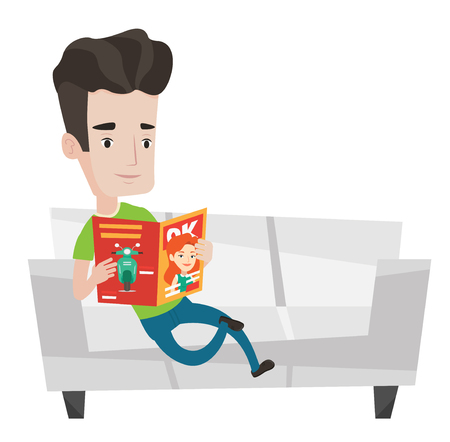 relaxed man: Young caucasian man reading a magazine. Relaxed man sitting on sofa and reading magazine. Man sitting on the couch with magazine in hands. Vector flat design illustration isolated on white background. Illustration