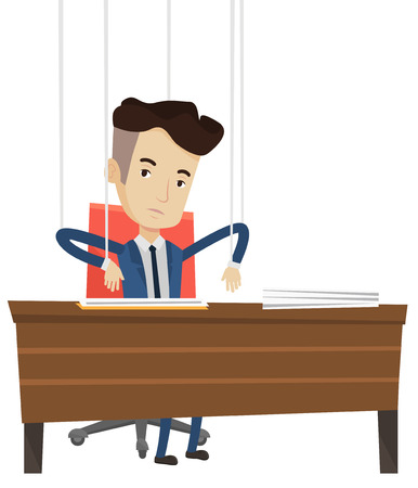 marionette: Businessman hanging on strings like a marionette. Businessman marionette on ropes sitting in office. Emotionless marionette man working. Vector flat design illustration isolated on white background.