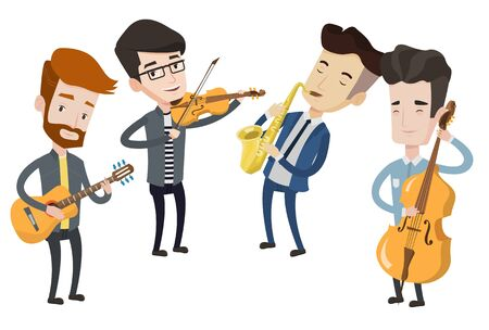 Band of musicians playing on musical instruments. Young musicians playing on instruments. Band of musicians performing with instruments. Vector flat design illustration isolated on white background. Ilustrace