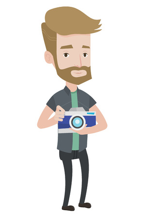 Hipster photographer with beard holding a camera. Caucasain photographer using professional camera. Young photographer taking a photo. Vector flat design illustration isolated on white background. Illustration