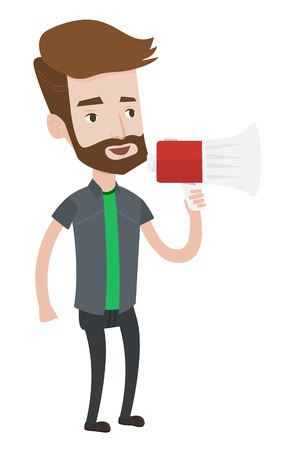 promoter: Hipster man holding megaphone. Social media marketing concept. Man promoter speaking into megaphone. Young man advertising using megaphone. Vector flat design illustration isolated on white background
