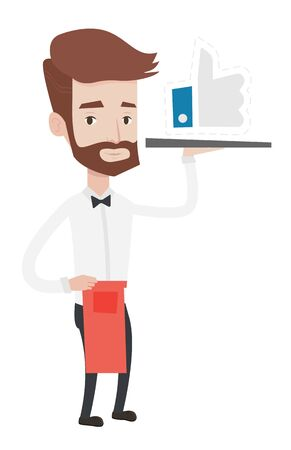 Hipster Kellner Tablett mit wie Knopf trägt. Kellner mit Restaurant Tablett mit wie Taste. Kellner mit sozialen Netzwerken wie Taste. Vector flache Design-Darstellung auf weißem Hintergrund.
