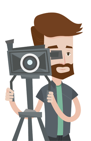 cinematographer: Hipster cameraman looking through movie camera on a tripod. Cameraman with professional video camera. Young cameraman taking a video. Vector flat design illustration isolated on white background. Illustration
