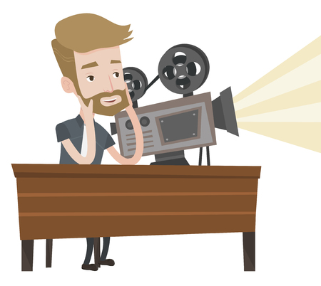 cinematographer: Hipster man with beard sitting near a film projector at the table. Caucasian projectionist showing new film. Young projectionist at work. Vector flat design illustration isolated on white background.