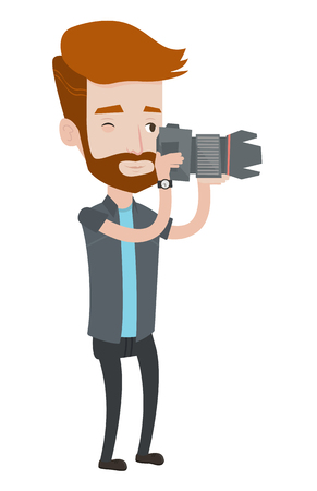 A hipster photographer with the beard taking a photo. Young photographer taking a picture. Caucasian photographer with digital camera. Vector flat design illustration isolated on white background. Ilustração