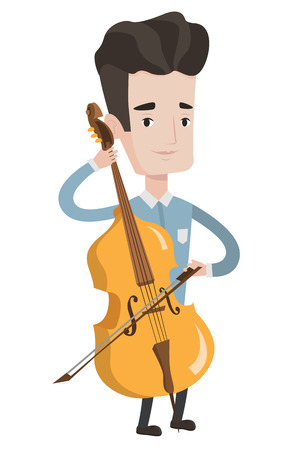 cellist: Young happy caucasian musician playing cello. Cellist playing classical music on cello. Young smiling musician with cello and bow. Vector flat design illustration isolated on white background.