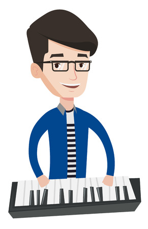 Young smiling musician playing piano. Pianist playing upright piano. Caucasian male pianist playing on synthesizer. Vector flat design illustration isolated on white background. Ilustração