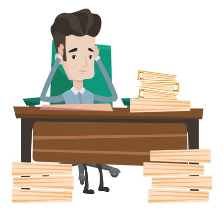 workload: Stressed businessman with stacks of papers. Stressful businessman clutching his head. Stressed businessman having problem with deadline. Vector flat design illustration isolated on white background.