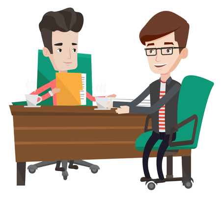 Two businessmen talking on business meeting. Businessmen drinking coffee on business meeting. Two businessmen during business meeting. Vector flat design illustration isolated on white background. Vettoriali
