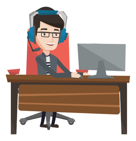 caucasians: Young caucasian gamer using computer for playing games. Cheerful gamer in headphones playing online games. Man playing computer game. Vector flat design illustration isolated on white background.