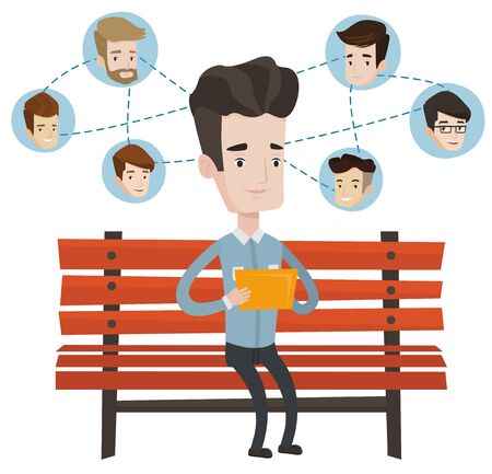 Caucasian man using a tablet computer with social network avatar icons above. Man surfing in the social network. Social network concept. Vector flat design illustration isolated on white background.