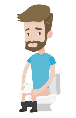 Man sitting on toilet bowl and suffering from diarrhea. Man holding toilet paper roll and suffering from diarrhea. Man sick with diarrhea. Vector flat design illustration isolated on white background.
