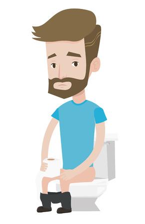 Un homme assis sur la cuvette des toilettes et souffrant de diarrhée. Homme tenant un rouleau de papier de toilette et souffrant de diarrhée. L'homme malade de la diarrhée. Vector design plat illustration isolé sur fond blanc. Banque d'images - 66185853
