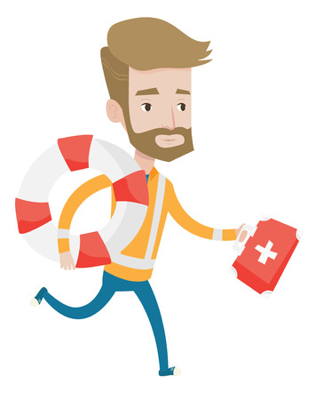 paramedic: Hipster paramedic with beard running with first aid box. Young caucasian paramedic running to patients. Paramedic running with lifebuoy. Vector flat design illustration isolated on white background.