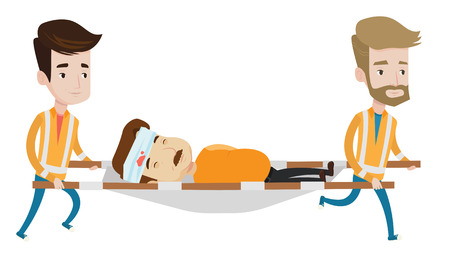 Deux médecins d'urgence transportant homme blessé sur une civière médicale d'urgence. médecins d'urgence du Caucase transportant la victime sur une civière. Vector design plat illustration isolé sur fond blanc. Banque d'images - 66185858