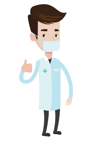 protective gown: Caucasian doctor in mask giving thumbs up. Doctor in medical gown showing thumbs up gesture. Doctor with gesture thumb up. Vector flat design illustration isolated on white background. Illustration