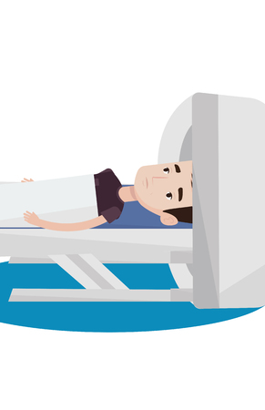 ct scan: Man undergoes a magnetic resonance imaging. Man having magnetic resonance imaging. Magnetic resonance imaging machine scanning patient. Vector flat design illustration isolated on white background.