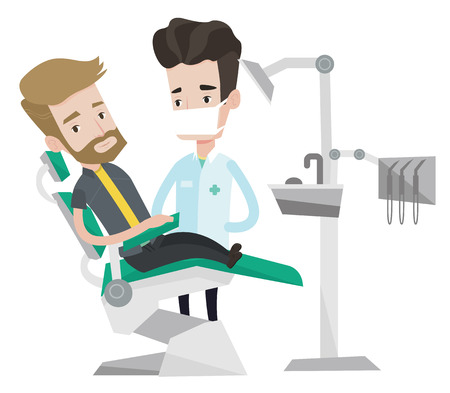 Young hipster man sitting at the chair at the dental office. Doctor and patient in the dental clinic. Patient on reception at the dentist. Vector flat design illustration isolated on white background.