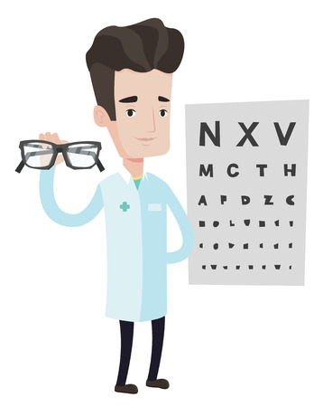 Caucasian male oculist doctor giving glasses. Oculist doctor holding eyeglasses on the background of eye chart. Oculist offering glasses. Vector flat design illustration isolated on white background. Ilustracja