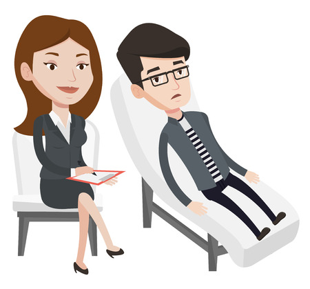 Caucasian patient lying on sofa and talking with psychotherapist or psychologist. Psychologist having session with patient in depression. Vector flat design illustration isolated on white background.