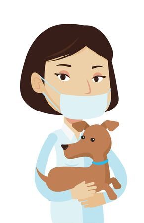 Young caucasian veterinarian holding dog. Female veterinarian in medical mask carrying a dog. Female veterinarian examining dog. Vector flat design illustration isolated on white background.