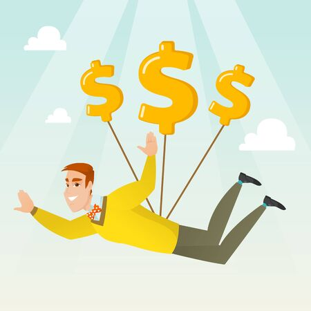 man jumping: Caucasian business man flying with dollar signs. Happy business man gliding in the sky with dollars. Business woman using dollar signs as parachute. Vector flat design illustration. Square layout.