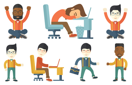 overworked: Overworked employee sleeping in office. Overworked employee resting at workplace. Overworked employee working on a computer. Set of vector flat design illustrations isolated on white background.