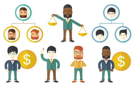 jerarquia: estructura de la jerarquía corporativa con la gente de negocios. La gente de negocios dispuestas en una jerarquía. Concepto de trabajo en equipo y de negocios jerarquía. Conjunto de ilustraciones de vectores aislados sobre fondo blanco.