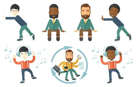 listen to music: Happy man dancing while listening to music. Young man listening to music in headphones. Man with eyes closed enjoying music. Set of vector flat design illustrations isolated on white background.