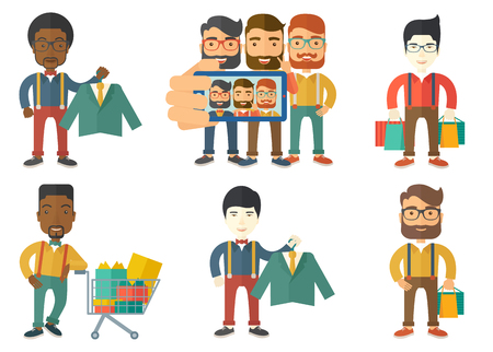 Caucasian hipster shopper holding hanger with suit jacket and shirt. Shopper choosing suit jacket. Shop assistant offering suit. Set of vector flat design illustrations isolated on white background. Illustration