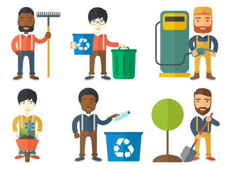 Young man carrying recycling bin. Eco-friendly man throwing away plastic bottle in a recycling bin. Plastic recycling concept. Set of vector flat design illustrations isolated on white background. Illustration