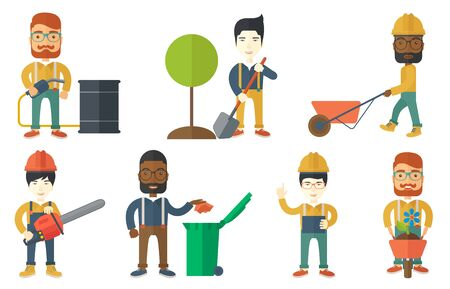 Young man plants a tree. Man standing with shovel near newly planted tree. Happy man with wheelbarrow is going to plant a flower. Set of vector flat design illustrations isolated on white background. Illustration