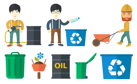 recycling: Joyful man throwing away used plastic bottle in recycling bin. Man collecting garbage in recycle bin. Waste recycling concept. Set of vector flat design illustrations isolated on white background.