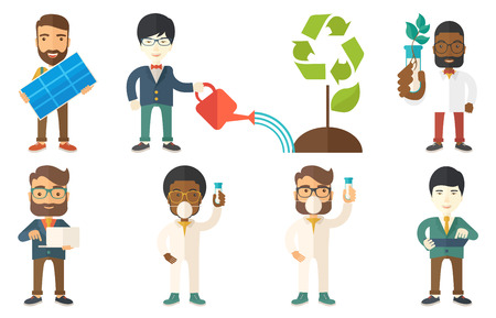 Man watering a tree with a recycle sign instead of crown. Man taking care of green tree with recycle symbol. Concept of recycling. Set of vector flat design illustrations isolated on white background. Stock Vector - 66648044