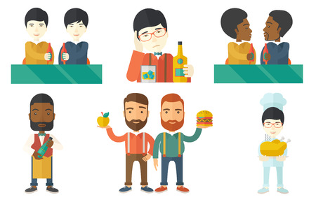 clinking: Beer fans toasting and clinking bottles of beer. Friends clanging bottles of beer. Group of young friends drinking a beer at pub. Set of vector flat design illustrations isolated on white background.