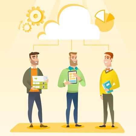cloud computing technologies: Business team standing under cloud. Caucasian business team using cloud computing technologies. Concept of cloud computing, teamwork and brainstorming. Vector flat design illustration. Square layout.