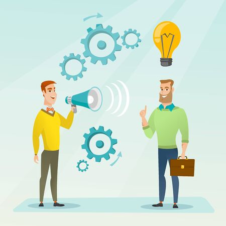 proclaim: Businessman speaking to megaphone and making announcement for business idea. Businessman came up with idea. Concept of business idea and announcement. Vector flat design illustration. Square layout.