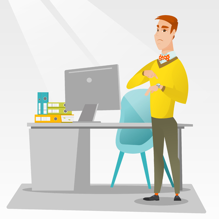 Angry caucasian employer pointing at wrist watch. Irritated employer checking time of coming of latecomer employee. Concept of late to work and deadline. Vector flat design illustration. Square layout Illustration