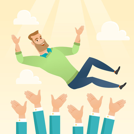 arms lifted up: Successful happy caucasian businessman get thrown into the air by coworkers during celebration. Celebration of business success. Vector flat design illustration in the circle isolated on background.