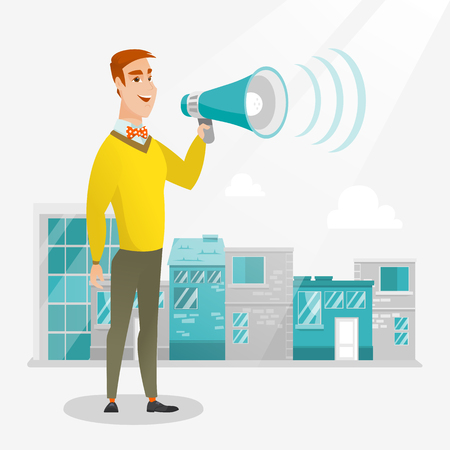 Caucasian happy businessman making an announcement on a city background. Businessman announcing through megaphone. Concept of business announcement. Vector flat design illustration. Square layout.