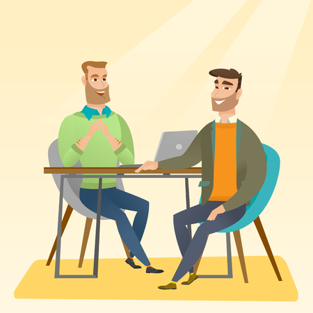 Human resource manager talking with job applicant. Job applicant during job interview for the position. Job interview concept. Vector flat design illustration in the circle isolated on red background.
